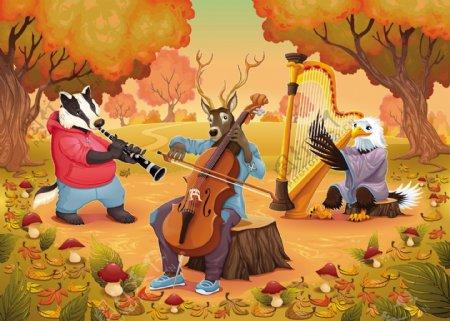 音乐家的动物在木卡通插画矢量图