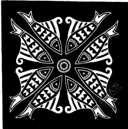 对称飞鱼黑白图案