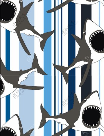 条纹大白鲨面料设计