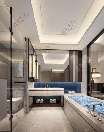 现代时尚大气浴室蓝色背景墙室内装修效果图