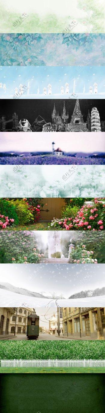 彩色花朵建筑banner背景