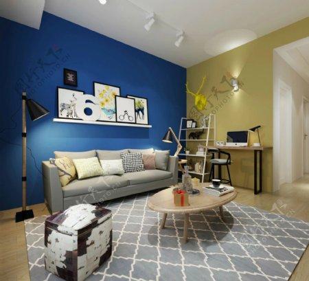简约室内客厅蓝色背景墙效果图