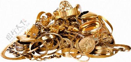 一堆黄金器物免抠png透明图层素材