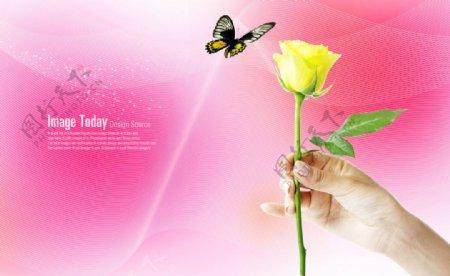 一枝黄玫瑰蝴蝶梦幻背景素材
