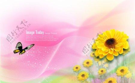 黄色菊花梦幻背景素材