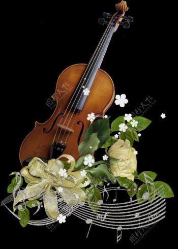 手绘实物大提琴png透明素材