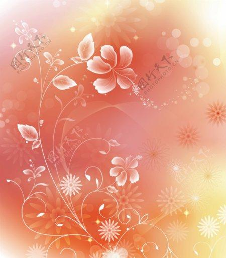 红色花朵梦幻背景素材