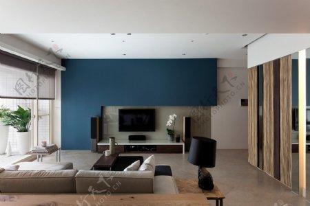 现代时尚客厅蓝色背景墙室内JPEG效果图