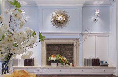 现代清新淡蓝色背景墙客厅室内装修效果图