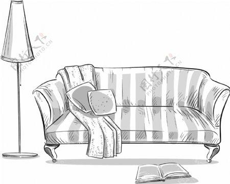 手绘家居双人沙发插画