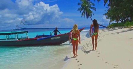 比基尼美女海滨度假娱乐