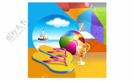 防晒伞沙滩皮球拖鞋png元素