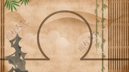 圆拱形门洞竹帘假山古色古香背景