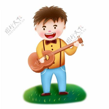 吉他男孩卡通乐器演奏者音乐节可商用元素