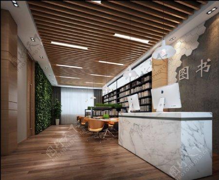 书店前台接待区3d渲染模型
