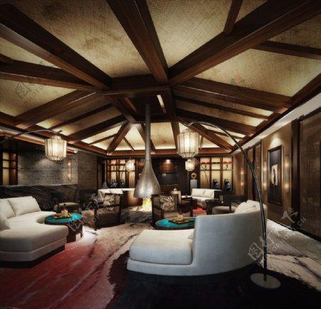 会客厅接待区3d渲染模型