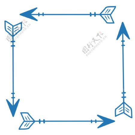 简约蓝色箭头线条边框元素