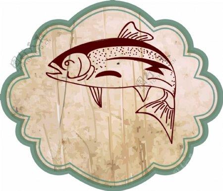 花纹边框里的鱼矢量图