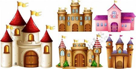 美丽的卡通城堡插画