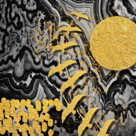 北欧简约风水墨抽象金箔装饰画