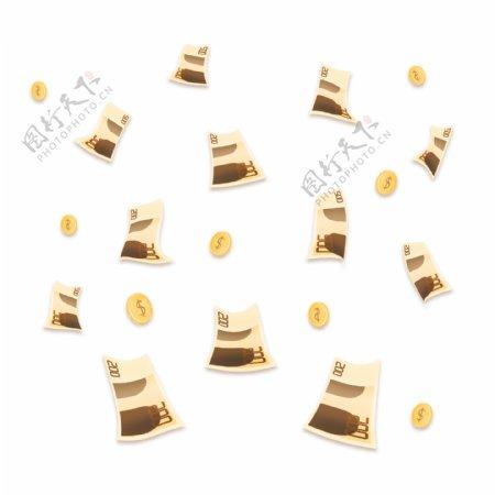 金融理财金币钱币欧元漂浮元素