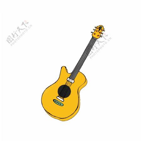 手绘卡通乐器民谣吉他