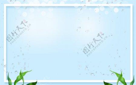 蓝色清新花草展板背景
