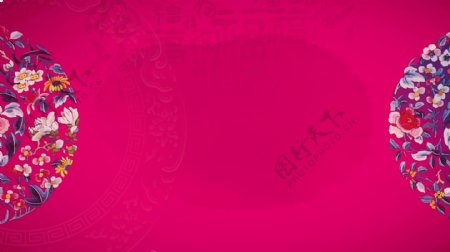 紫色浪漫新婚展板背景