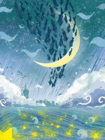 治愈风星河中游动的飞鱼手绘背景