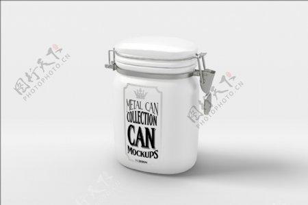 创意扣子罐子样机模板