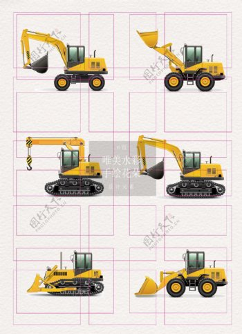 黄色手绘工程机械设计