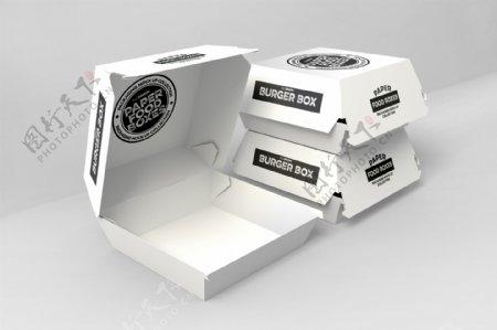 汉堡快餐纸盒包装盒样机模板