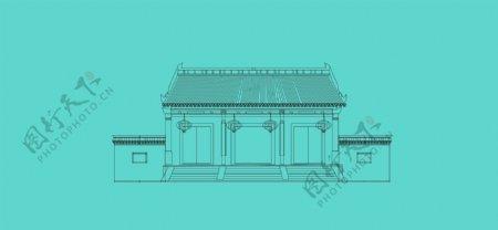 大门府邸古建筑建筑线稿