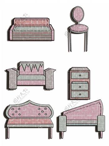 拼贴创意沙发简约另类可爱卡通