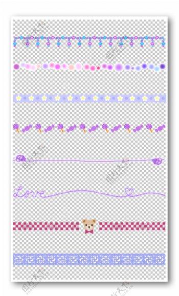 紫色花纹边框元素