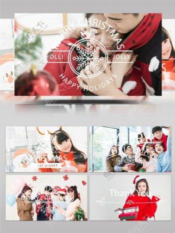 6款圣诞节节日祝福标题标签AE模板