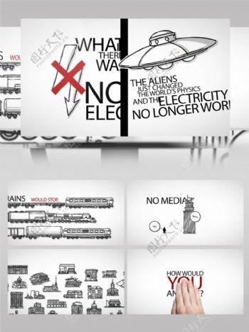 手绘白板元素和信息图表元素的素材库ae模板