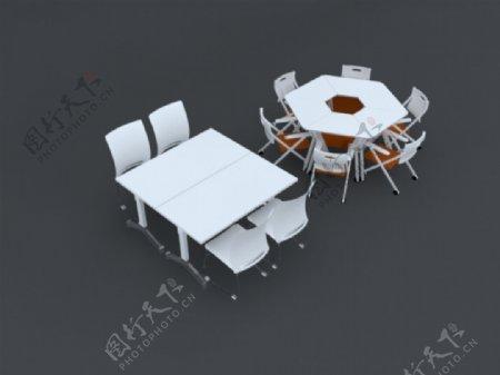 办公桌椅3d模型素材组合