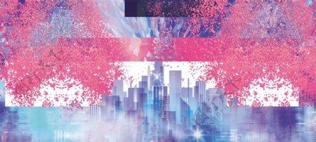 星空绚丽云层流星城市宇宙云团宣传典礼模板
