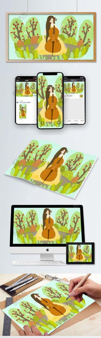 节日音乐节卡通女孩拉大提琴小清新插画