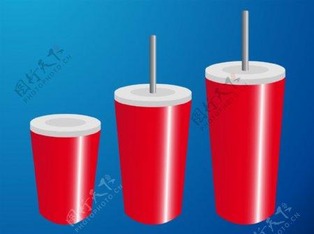 红色可乐杯素材