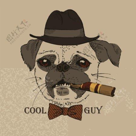 抽烟酷酷的动物绅士矢量素材