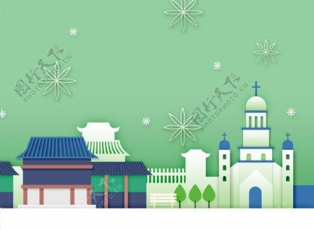 清新韩式春天气息卡通立体花朵建筑背景