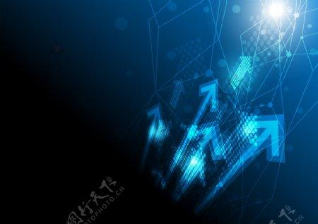 蓝色箭头科技矢量素材