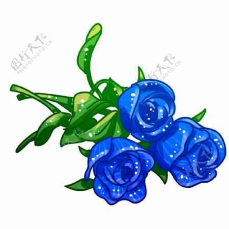三朵蓝玫瑰花元素
