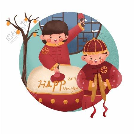 新年女孩男孩敲锣打鼓手绘卡通可爱插画