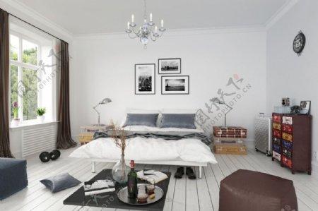 白色简约敞亮卧室max效果图