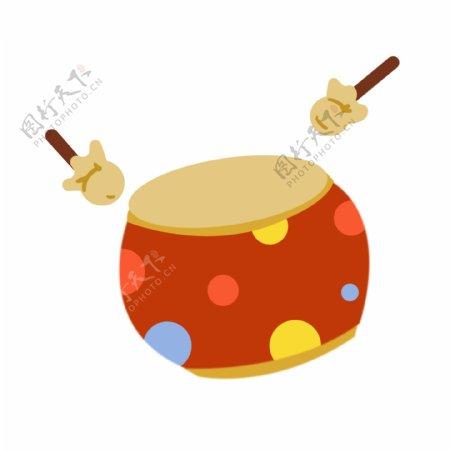 红色大鼓乐器插画