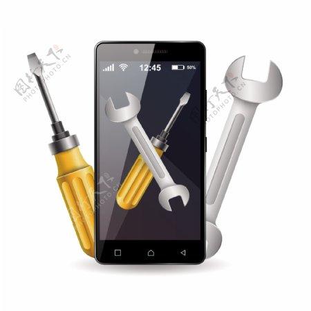 卡通修理手机的工具矢量素材