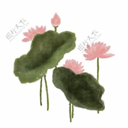 手绘中国风荷花水墨画png素材